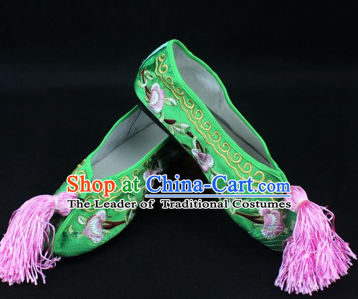 Traditional China Beijing Opera Hua Tan Embroidered Green Shoes, Ancient Chinese Peking Opera Young Lady Diva Princess Blood Stained Shoes