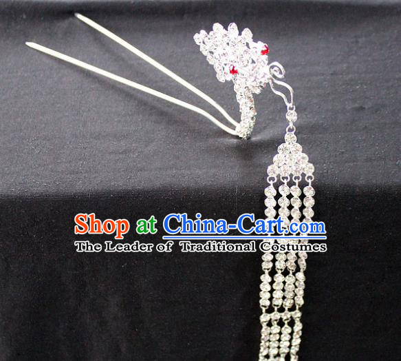 Traditional China Beijing Opera Young Lady Hair Accessories Tassel Step Shake, Ancient Chinese Peking Opera Hua Tan Diva Red Crystal Butterfly Hairpins