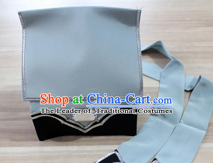 Traditional China Beijing Opera Young Men Hair Accessories Headwear, Ancient Chinese Peking Opera Niche Hat Grey Kerchief