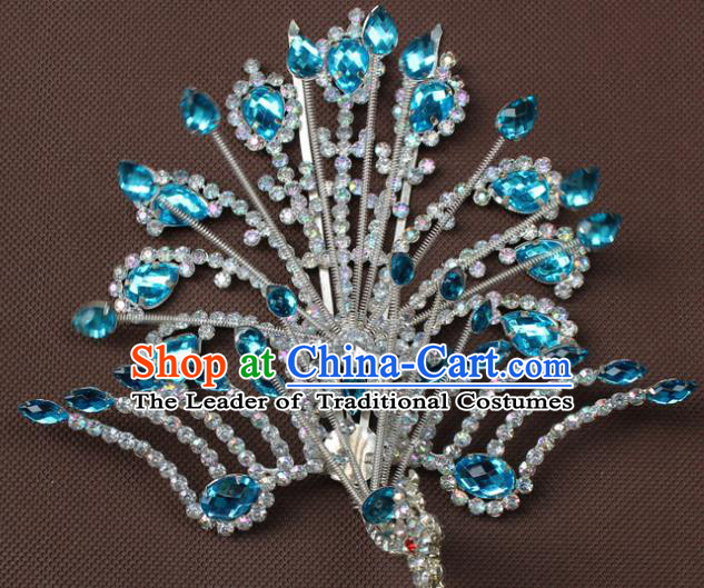 Traditional China Beijing Opera Young Lady Hair Accessories Blue Crystal Phoenix Step Shake, Ancient Chinese Peking Opera Hua Tan Headwear Diva Hairpins
