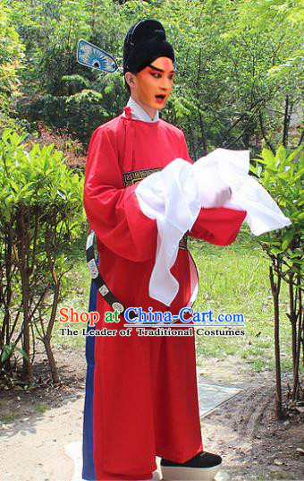 Traditional China Beijing Opera Niche Costume Lang Scholar Red Embroidered Robe and Headwear, Ancient Chinese Peking Opera Embroidery Magistrate Gwanbok Clothing