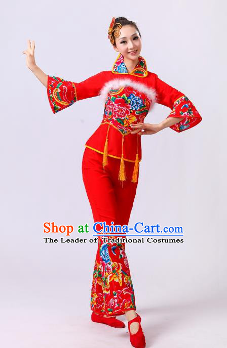 Traditional Chinese Classical Dance Yangge Fan Dance Wool Costume, Folk Dance Drum Dance Clothing Yangko Red Uniform for Women