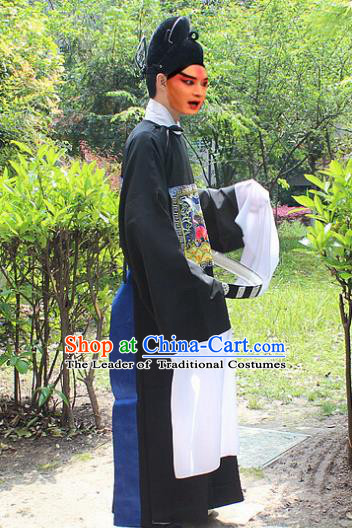 Traditional China Beijing Opera Niche Costume Lang Scholar Black Embroidered Robe and Headwear, Ancient Chinese Peking Opera Embroidery Magistrate Gwanbok Clothing