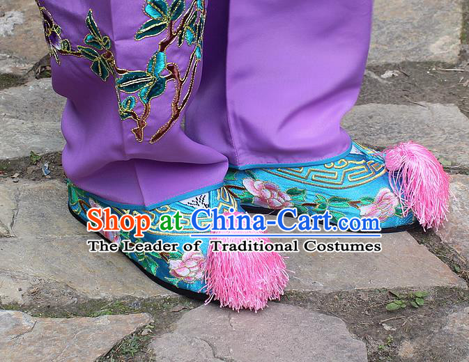 Traditional China Beijing Opera Hua Tan Embroidered Blue Shoes, Ancient Chinese Peking Opera Young Lady Diva Princess Embroidery Blood Stained Shoes