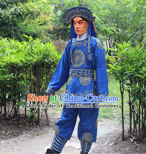 Traditional China Beijing Opera Costume Swordsman Takefu Embroidered Blue Uniform and Headwear, Ancient Chinese Peking Opera Embroidery Warrior Clothing