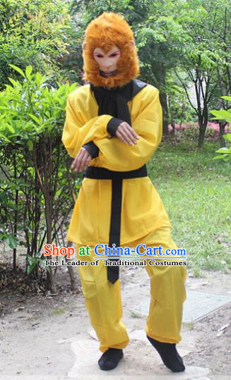 Traditional China Beijing Opera Costume Handsome Monkey King Takefu Embroidered Yellow Uniform, Ancient Chinese Peking Opera Embroidery Warrior Clothing