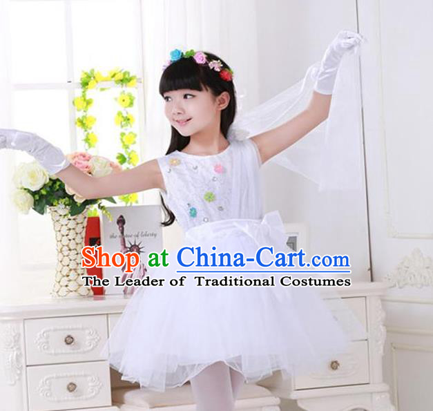 Top Grade Chinese Compere Professional Performance Catwalks Costume, Children Princess White Veil Bubble Dress Modern Dance Dress for Girls Kids
