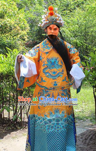 Traditional China Beijing Opera Niche Costume Emperor Embroidered Dragon Robe and Headwear, Ancient Chinese Peking Opera Embroidery Royal Highness Gwanbok Clothing