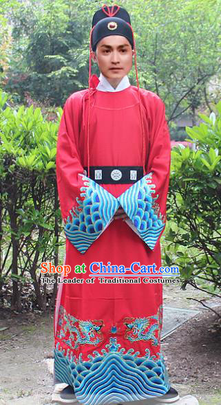 Traditional China Beijing Opera Niche Costume Zhan Zhao Robe and Headwear, Ancient Chinese Peking Opera Embroidery Red Gwanbok Clothing