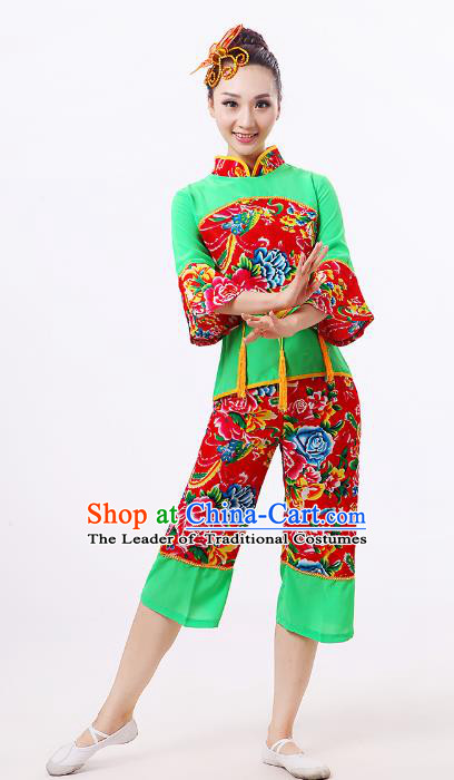 Traditional Chinese Classical Dance Yangge Fan Dance Green Costume, Folk Dance Waist Drum Dance Clothing Yangko Uniform for Women