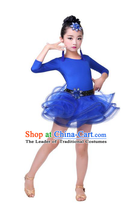 Top Grade Chinese Compere Professional Performance Catwalks Costume, Children Blue Bubble Dress Modern Latin Dance Dress for Girls Kids