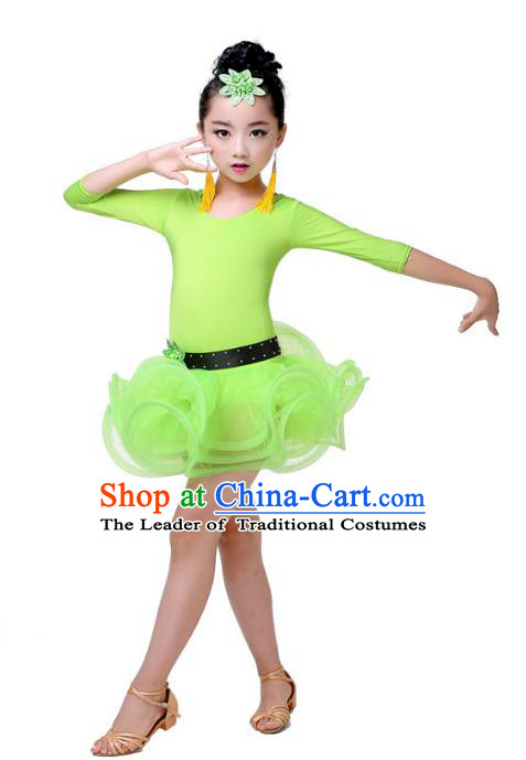 Top Grade Chinese Compere Professional Performance Catwalks Costume, Children Green Bubble Dress Modern Latin Dance Dress for Girls Kids