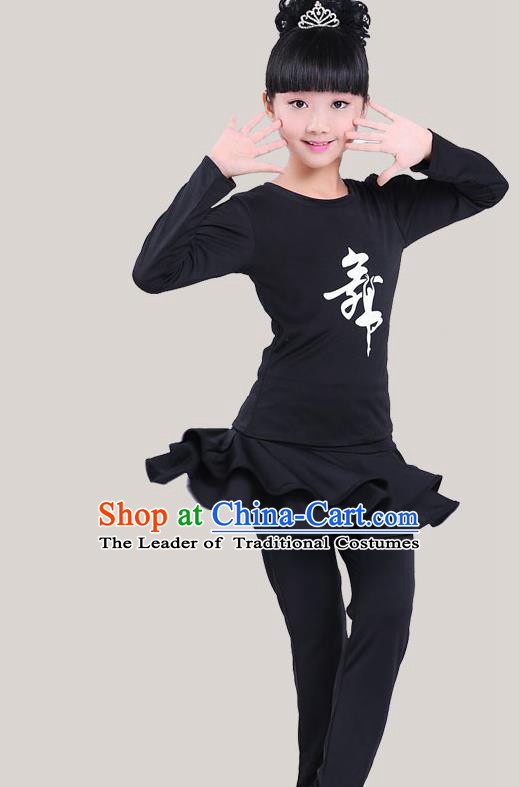 Top Grade Chinese Compere Professional Performance Catwalks Costume, Children Latin Dance Black Uniform Modern Dance Clothing for Girls Kids