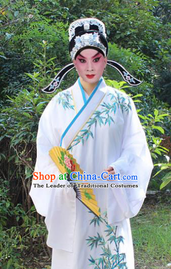 Traditional China Beijing Opera Niche Costume Lang Scholar White Embroidered Robe and Headwear, Ancient Chinese Peking Opera Embroidery Gwanbok Clothing