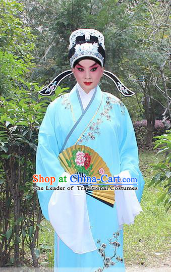 Traditional China Beijing Opera Niche Costume Lang Scholar Embroidered Robe and Headwear, Ancient Chinese Peking Opera Embroidery Blue Gwanbok Clothing