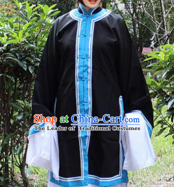 Traditional China Beijing Opera Costume Old Women Cape, Ancient Chinese Peking Opera Pantaloon Black Dress Clothing