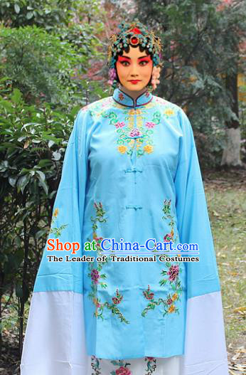 Traditional China Beijing Opera Young Lady Hua Tan Costume Blue Embroidered Cape, Ancient Chinese Peking Opera Female Diva Embroidery Dress Clothing