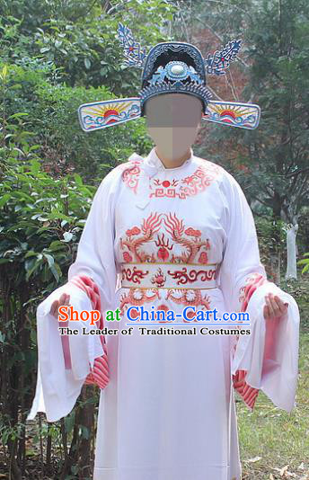 Traditional China Beijing Opera Niche Costume Lang Scholar White Embroidered Robe and Hat, Ancient Chinese Peking Opera Embroidery Emperor Son-in-law Gwanbok Clothing