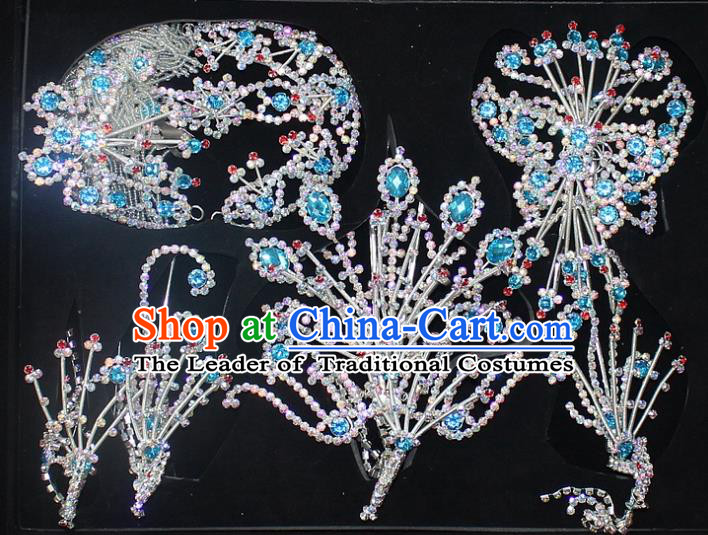 Traditional China Beijing Opera Young Lady Hair Accessories Head-ornaments Complete Set, Ancient Chinese Peking Opera Hua Tan Headwear Diva Crystal Headpiece