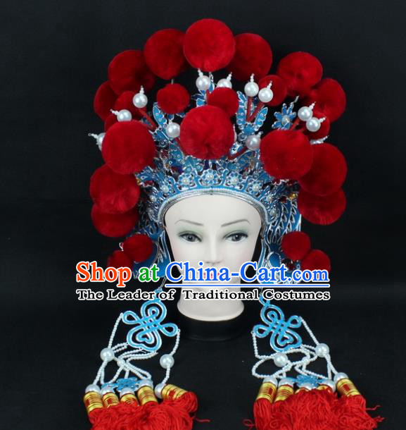Traditional China Beijing Opera Swordplay Hair Accessories Red Venonat Hat, Ancient Chinese Peking Opera Blues Headwear Phoenix Coronet