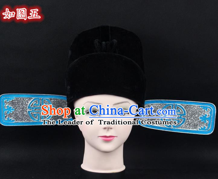 Traditional China Beijing Opera Young Men Hair Accessories Lang Scholar Hat, Ancient Chinese Peking Opera Magistrates Black Gauze Cap