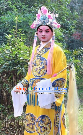Traditional China Beijing Opera Costume Eunuch Yellow Embroidered Robe and Headwear, Ancient Chinese Peking Opera Embroidery Gwanbok Clothing