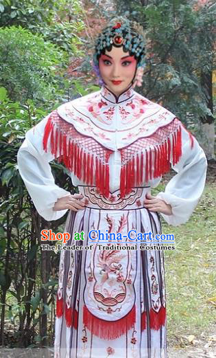 Traditional China Beijing Opera Hua Tan Costume Imperial Princess Embroidered Robe, Ancient Chinese Peking Opera Female Diva Embroidery Dress White Clothing