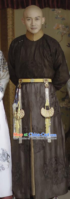 Story of Yanxi Palace Traditional Ancient Chinese Royal Highness Costume, Chinese Qing Dynasty Manchu Mandarin Robes Prince Embroidered Clothing for Men
