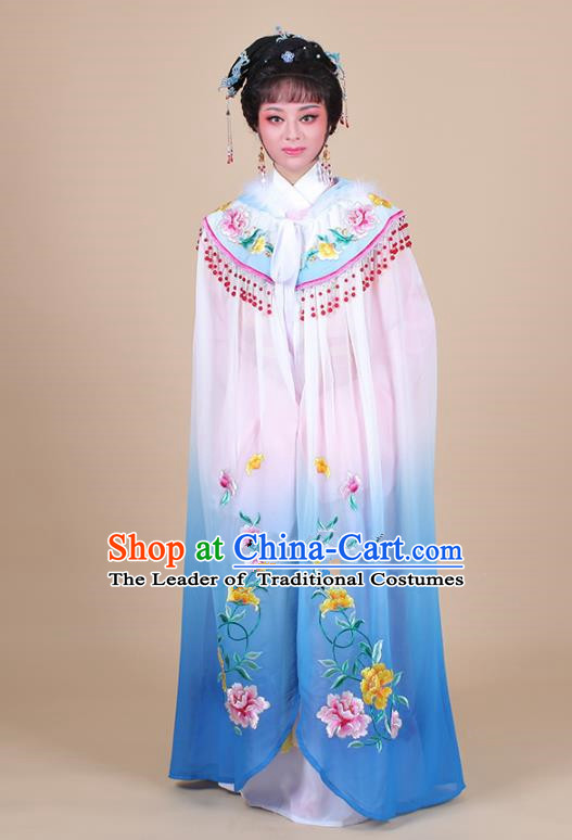 Traditional China Beijing Opera Young Lady Hua Tan Costume Female Blue Embroidered Cloak, Ancient Chinese Peking Opera Diva Embroidery Mantle Clothing