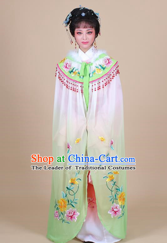 Traditional China Beijing Opera Young Lady Hua Tan Costume Female Embroidered Green Cloak, Ancient Chinese Peking Opera Diva Embroidery Mantle Clothing
