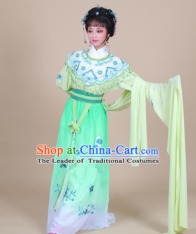 Traditional China Beijing Opera Young Lady Hua Tan Costume Female Water Sleeve Dance Green Clothing, Ancient Chinese Peking Opera Diva Embroidery Plum Blossom Dress