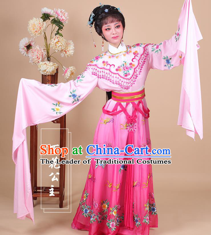 Traditional China Beijing Opera Young Lady Hua Tan Costume Female Princess Clothing, Ancient Chinese Peking Opera Diva Embroidery Peach Pink Dress