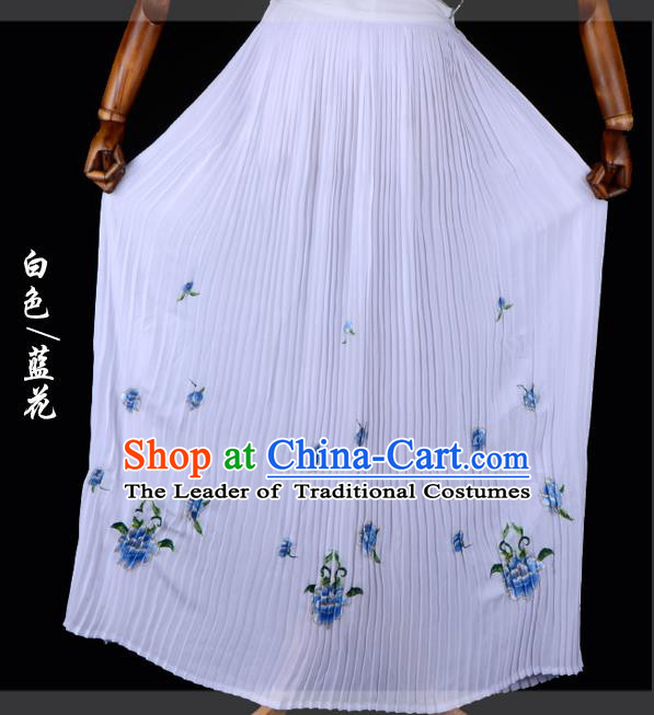 Traditional China Beijing Opera Young Lady Hua Tan Costume Female Embroidered White Pleated Skirt, Ancient Chinese Peking Opera Diva Embroidery Peony Dress Bust Skirt