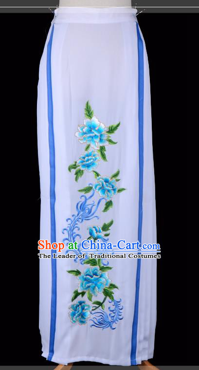 Traditional China Beijing Opera Young Lady Hua Tan Costume Embroidered Pleated Skirt, Ancient Chinese Peking Opera Diva Embroidery Blue Peony Dress Bust Skirt