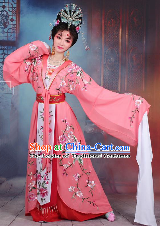 Traditional China Beijing Opera Young Lady Hua Tan Costume Peach Pink Embroidered Cape, Ancient Chinese Peking Opera Diva Embroidery Peony Water Sleeve Dress Clothing