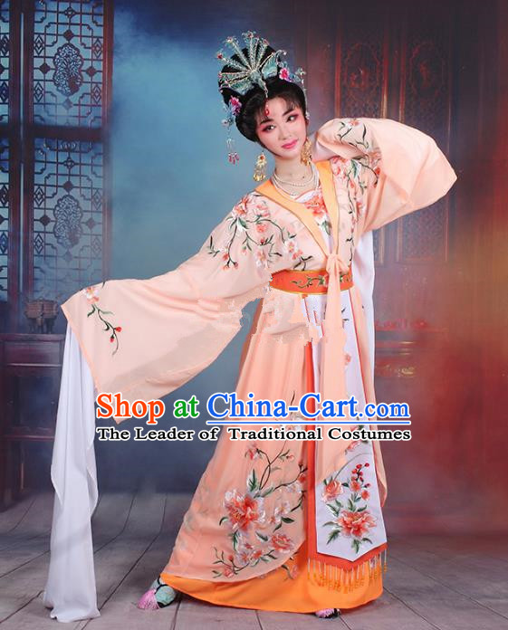 Traditional China Beijing Opera Young Lady Hua Tan Costume Orange Embroidered Cape, Ancient Chinese Peking Opera Diva Embroidery Peony Water Sleeve Dress Clothing