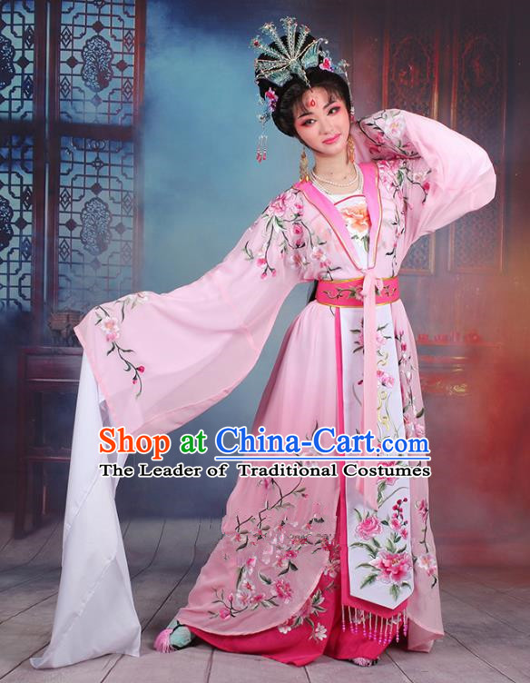 Traditional China Beijing Opera Young Lady Hua Tan Costume Pink Embroidered Cape, Ancient Chinese Peking Opera Diva Embroidery Peony Water Sleeve Dress Clothing