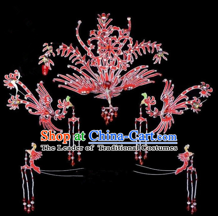 Traditional China Beijing Opera Young Lady Hair Accessories Phoenix Head-ornaments Complete Set, Ancient Chinese Peking Opera Hua Tan Headwear Diva Red Headpiece