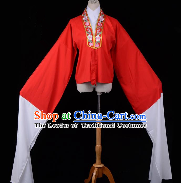 Traditional China Beijing Opera Young Lady Hua Tan Costume Princess Embroidered Red Blouse, Ancient Chinese Peking Opera Diva Embroidery Water Sleeve Clothing