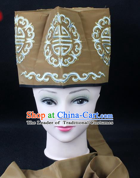Traditional China Beijing Opera Hair Accessories Lao-Sheng Hat, Ancient Chinese Peking Opera Embroidery Bronze Landlord Hat