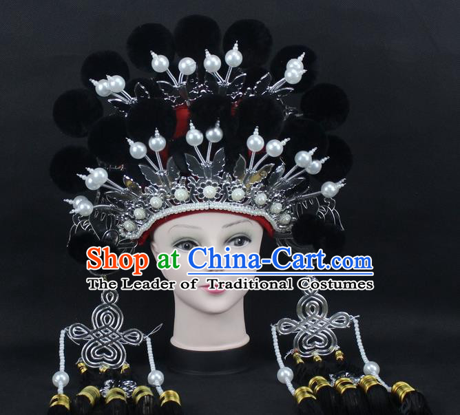 Traditional China Beijing Opera Young Lady Hair Accessories Female General Helmet, Ancient Chinese Peking Opera Swordplay Black Venonat Headwear