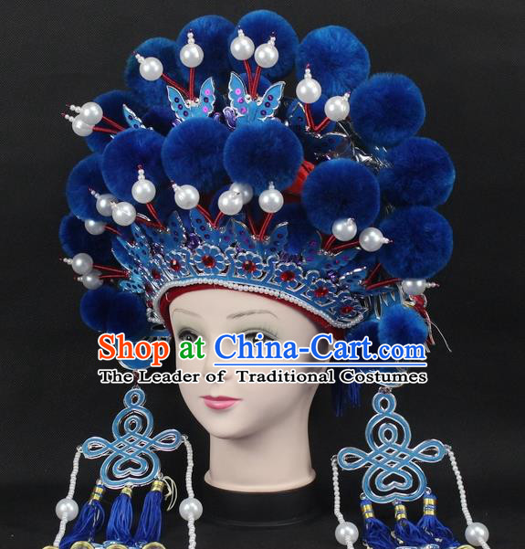 Traditional China Beijing Opera Young Lady Hair Accessories Female General Helmet, Ancient Chinese Peking Opera Swordplay Blue Venonat Headwear