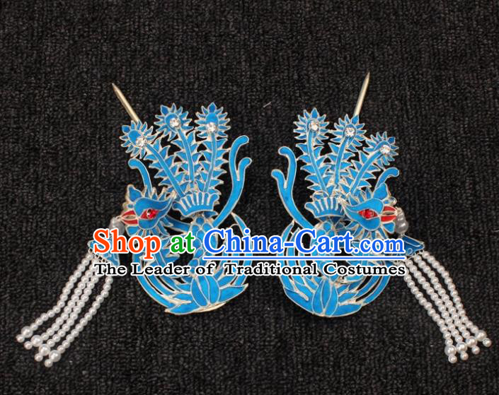 Traditional China Beijing Opera Young Lady Hair Accessories Phoenix Tassel Step Shake, Ancient Chinese Peking Opera Hua Tan Diva Hairpins