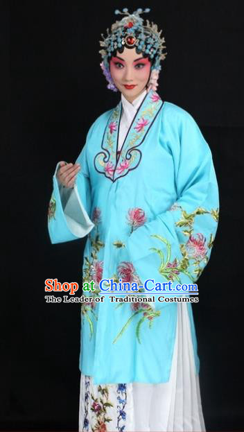 Traditional China Beijing Opera Young Lady Hua Tan Costume Blue Embroidered Cape, Ancient Chinese Peking Opera Female Diva Embroidery Chrysanthemum Dress Clothing