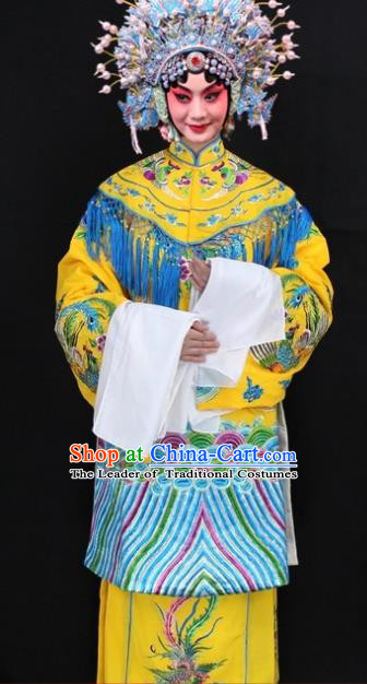 Traditional China Beijing Opera Young Lady Hua Tan Costume Imperial Empress Embroidered Robe, Ancient Chinese Peking Opera Female Diva Embroidery Phoenix Dress Clothing