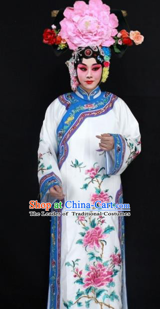 Traditional China Beijing Opera Young Lady Hua Tan Costume Qing Dynasty Imperial Concubine Embroidered Clothings, Ancient Chinese Peking Opera Diva Embroidery Dress Clothing