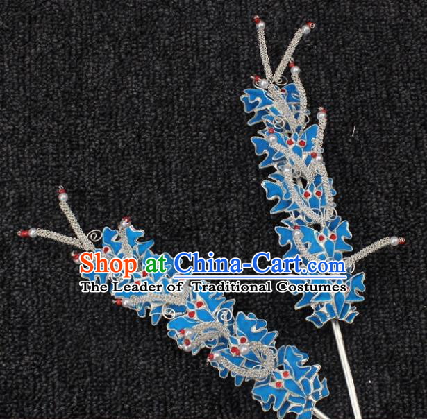 Traditional China Beijing Opera Young Lady Hair Accessories, Ancient Chinese Peking Opera Hua Tan Diva Butterfly Hairpins