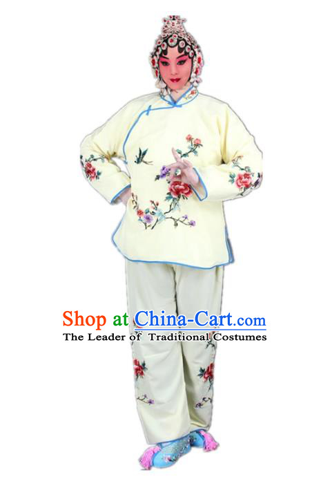 Traditional China Beijing Opera Young Lady Hua Tan Costume Maidservants Embroidered Yellow Clothing, Ancient Chinese Peking Opera Diva Embroidery Dress Clothing