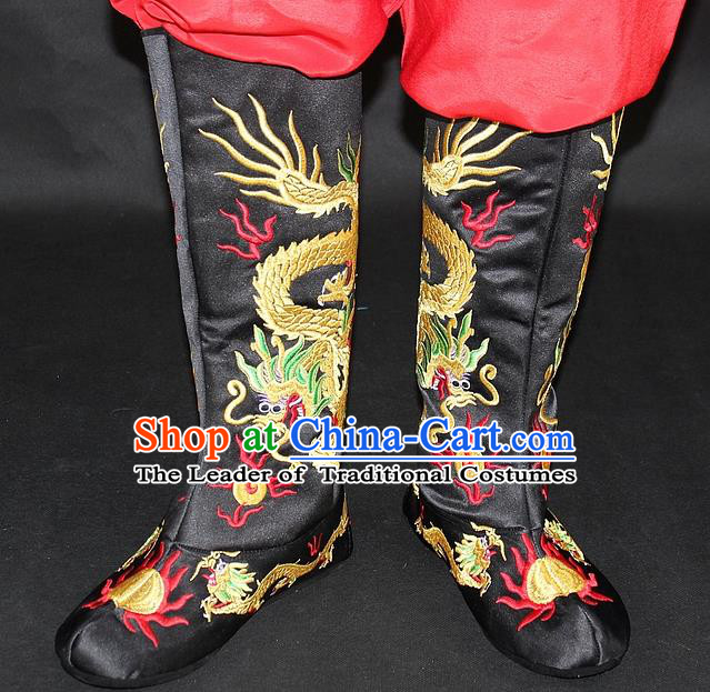 Traditional China Beijing Opera Qing Dynasty Emperor Embroidered Shoes, Ancient Chinese Peking Opera Embroidery Dragons Black Boots