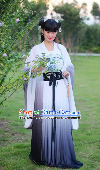 Traditional Chinese Han Dynasty Young Lady Embroidery Costume, Elegant Hanfu Clothing Chinese Ancient Fairy Dress Clothing for Women